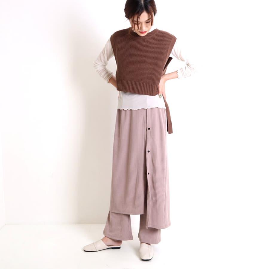 ロングスカート フレアパンツ セット レディース レイヤード 重ね着 スカート ハイウエスト イージーパンツ 2点セット ボトムス ズボン パンツ ワイドパンツ ゆったり ウエストゴム 韓国 韓国ファッション 人気 大人 タイトスカート 41