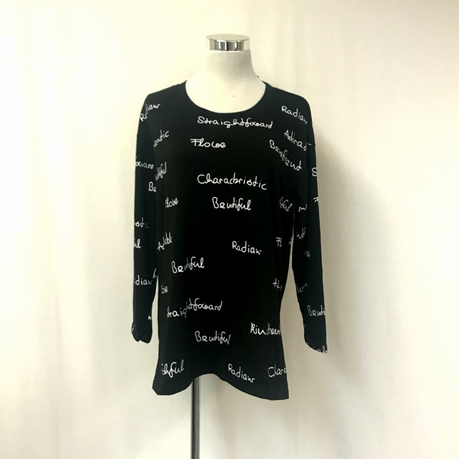 レディース トップス ロングTシャツ Tシャツ ロゴ 大きいサイズ 体型カバー 2018秋冬新作 長袖 オシャレ可愛い 6