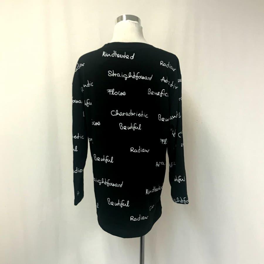 レディース トップス ロングTシャツ Tシャツ ロゴ 大きいサイズ 体型カバー 2018秋冬新作 長袖 オシャレ可愛い 8