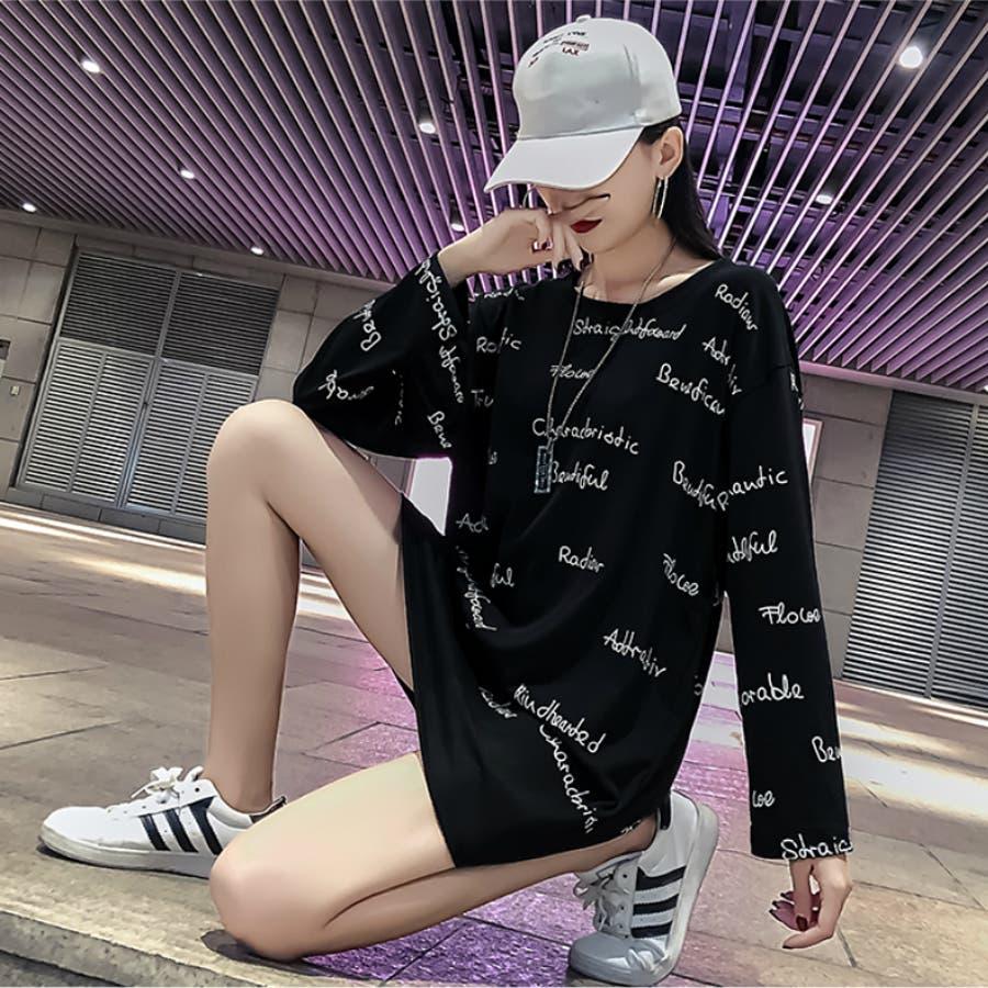 レディース トップス ロングTシャツ Tシャツ ロゴ 大きいサイズ 体型カバー 2018秋冬新作 長袖 オシャレ可愛い 5
