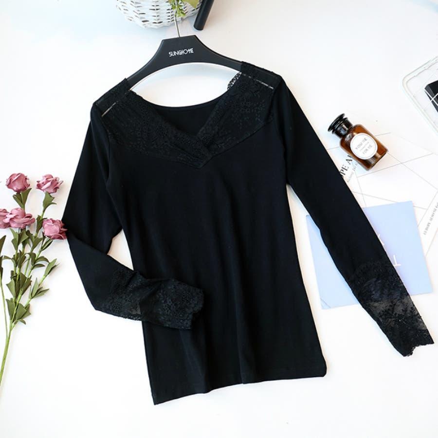 シースルーレーストップス 花柄 透け シャツ 長袖 レディース カットソー 大きいサイズ 2020 春夏新作 体型カバー 2