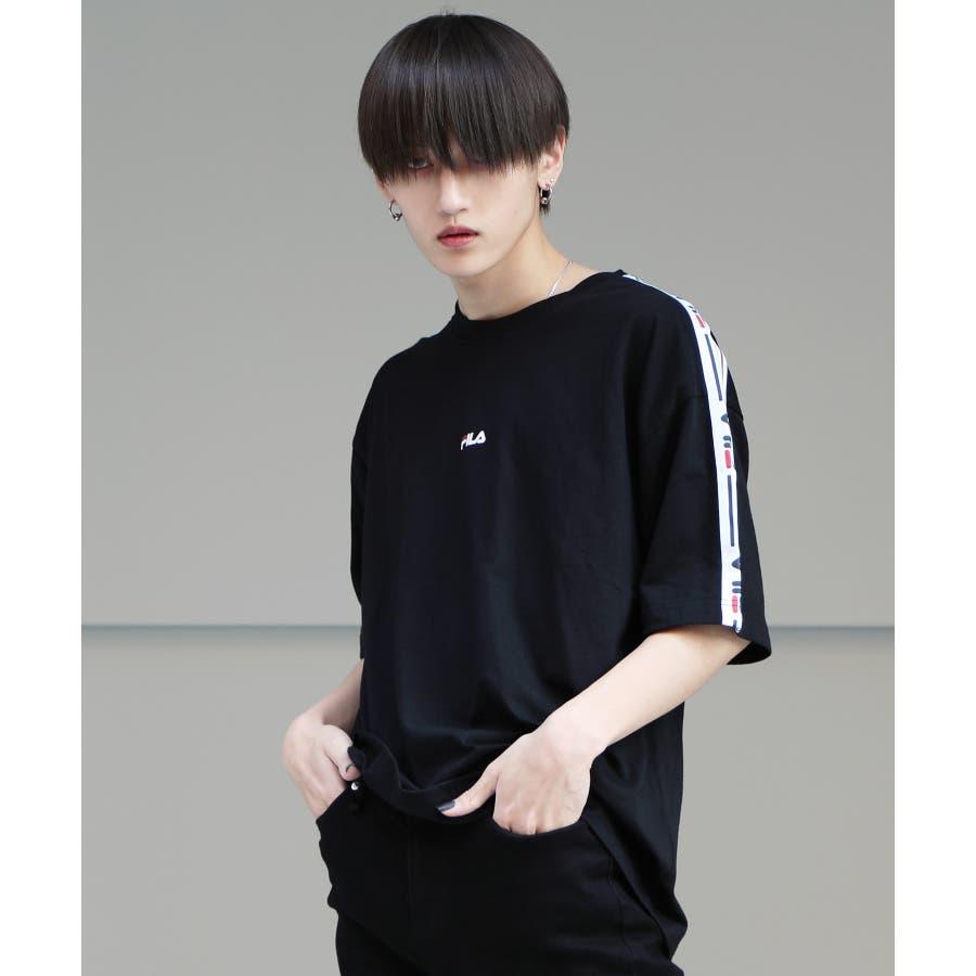 韓国 ファッション メンズ 服◆G.O.C(ジーオーシー)FILA / フィラ ロゴテープ 半袖Tシャツ◆ 21