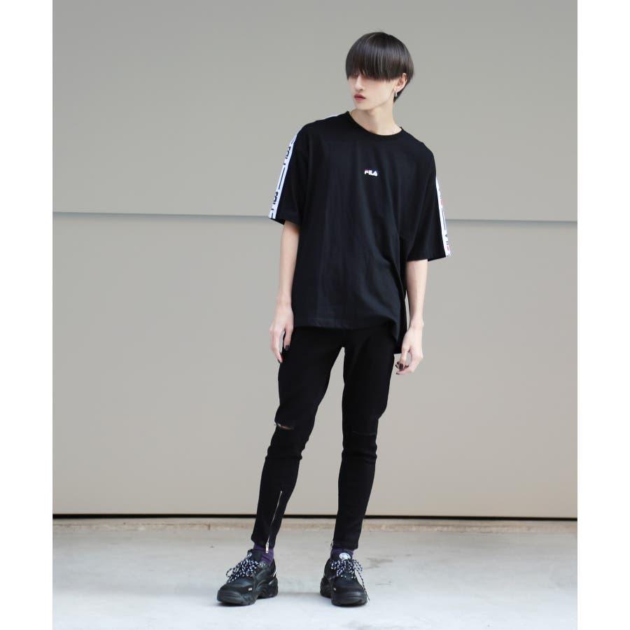 韓国 ファッション メンズ 服◆G.O.C(ジーオーシー)FILA / フィラ ロゴテープ 半袖Tシャツ◆ 2