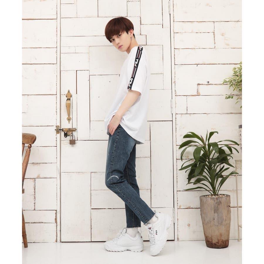 韓国 ファッション メンズ 服◆G.O.C(ジーオーシー)FILA / フィラ ロゴテープ 半袖Tシャツ◆ 5