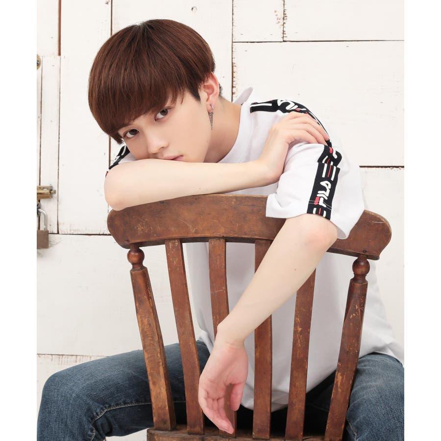 韓国 ファッション メンズ 服◆G.O.C(ジーオーシー)FILA / フィラ ロゴテープ 半袖Tシャツ◆ 6