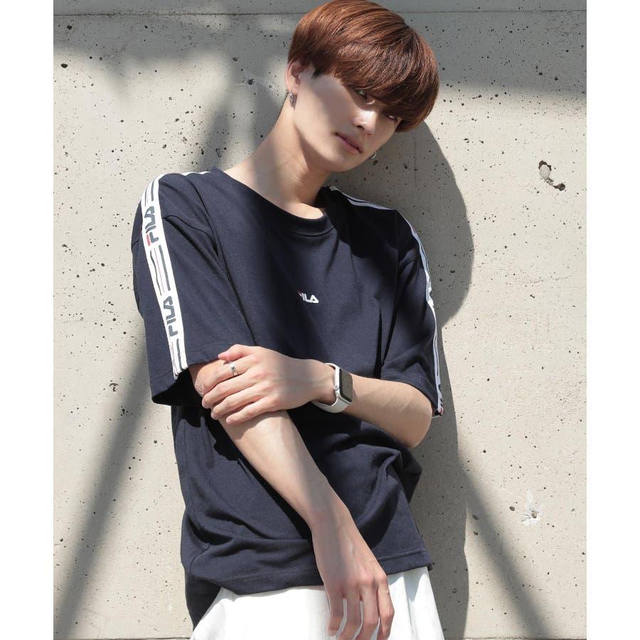 韓国 ファッション メンズ 服◆G.O.C(ジーオーシー)FILA / フィラ ロゴテープ 半袖Tシャツ◆ 64