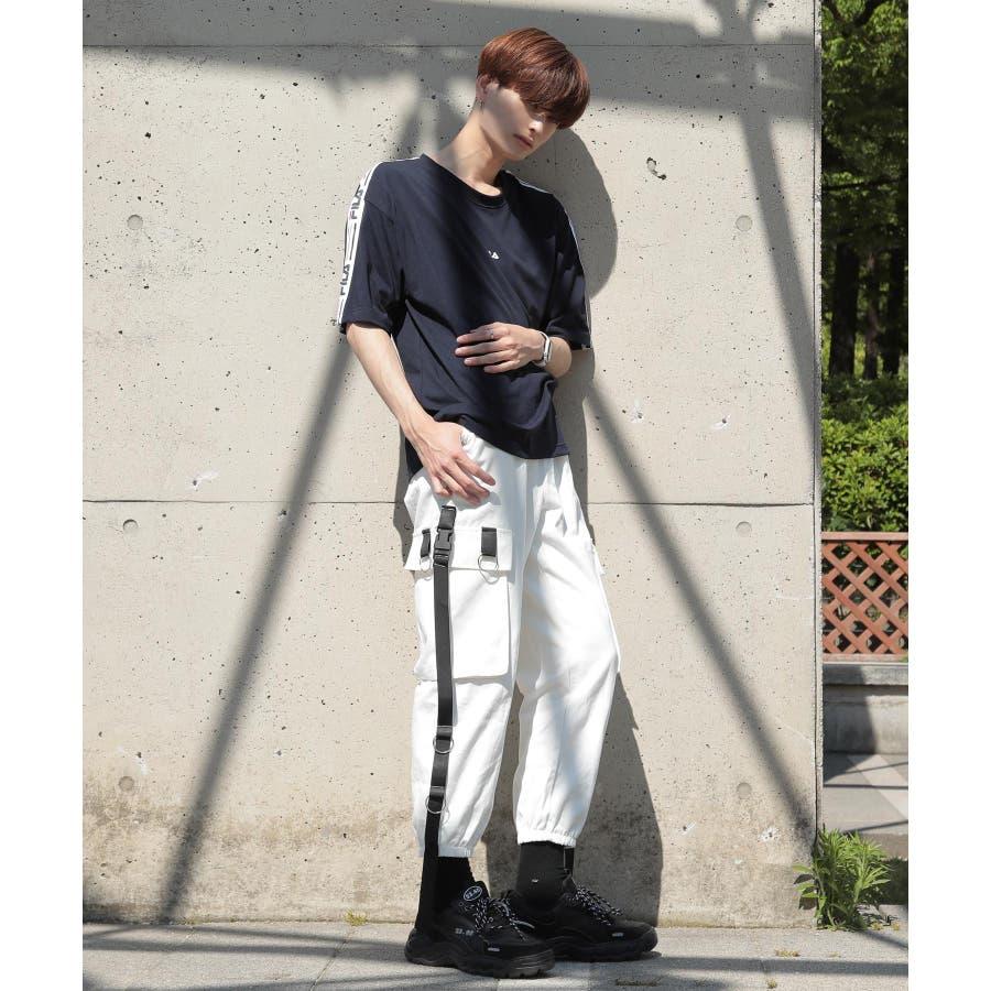 韓国 ファッション メンズ 服◆G.O.C(ジーオーシー)FILA / フィラ ロゴテープ 半袖Tシャツ◆ 8