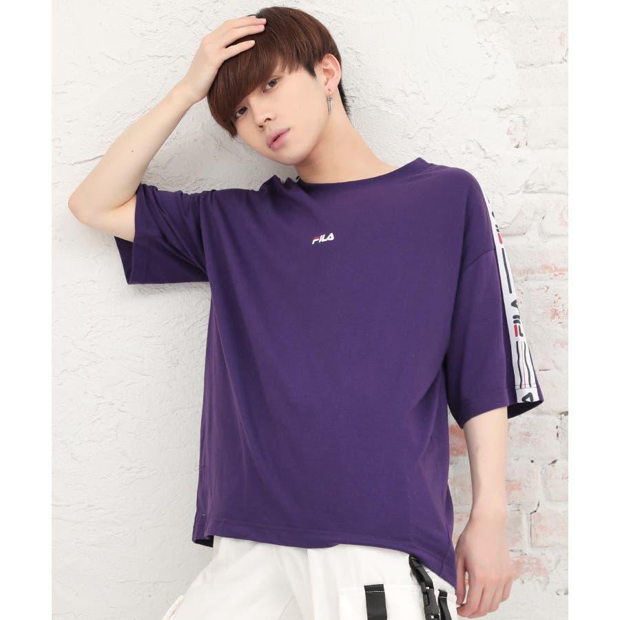 韓国 ファッション メンズ 服◆G.O.C(ジーオーシー)FILA / フィラ ロゴテープ 半袖Tシャツ◆ 77