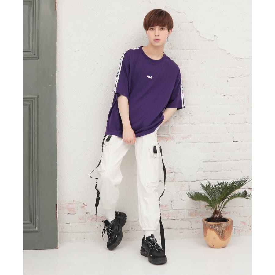韓国 ファッション メンズ 服◆G.O.C(ジーオーシー)FILA / フィラ ロゴテープ 半袖Tシャツ◆ 10