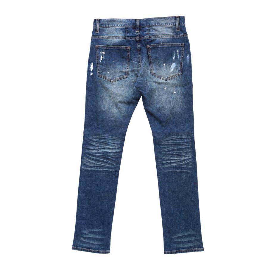 ◆roshell(ロシェル)ペイントダメージデニムパンツ◆デニム ジーンズ メンズ デニムパンツ ボトムス メンズファッション スリム 4