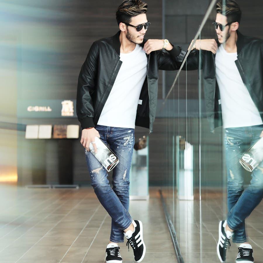 ◆roshell(ロシェル)ペイントダメージデニムパンツ◆デニム ジーンズ メンズ デニムパンツ ボトムス メンズファッション スリム 10