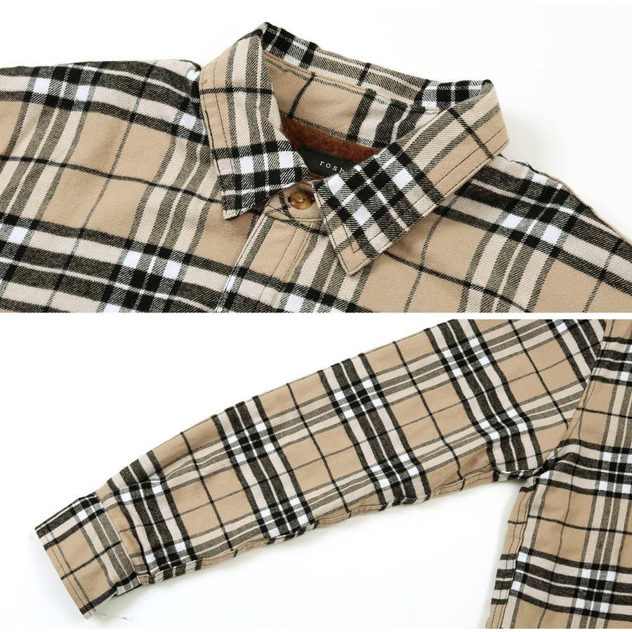 メンズ チェックシャツ シャツ トップス 定番◆roshell(ロシェル)裏ボアチェックシャツ◆ 5