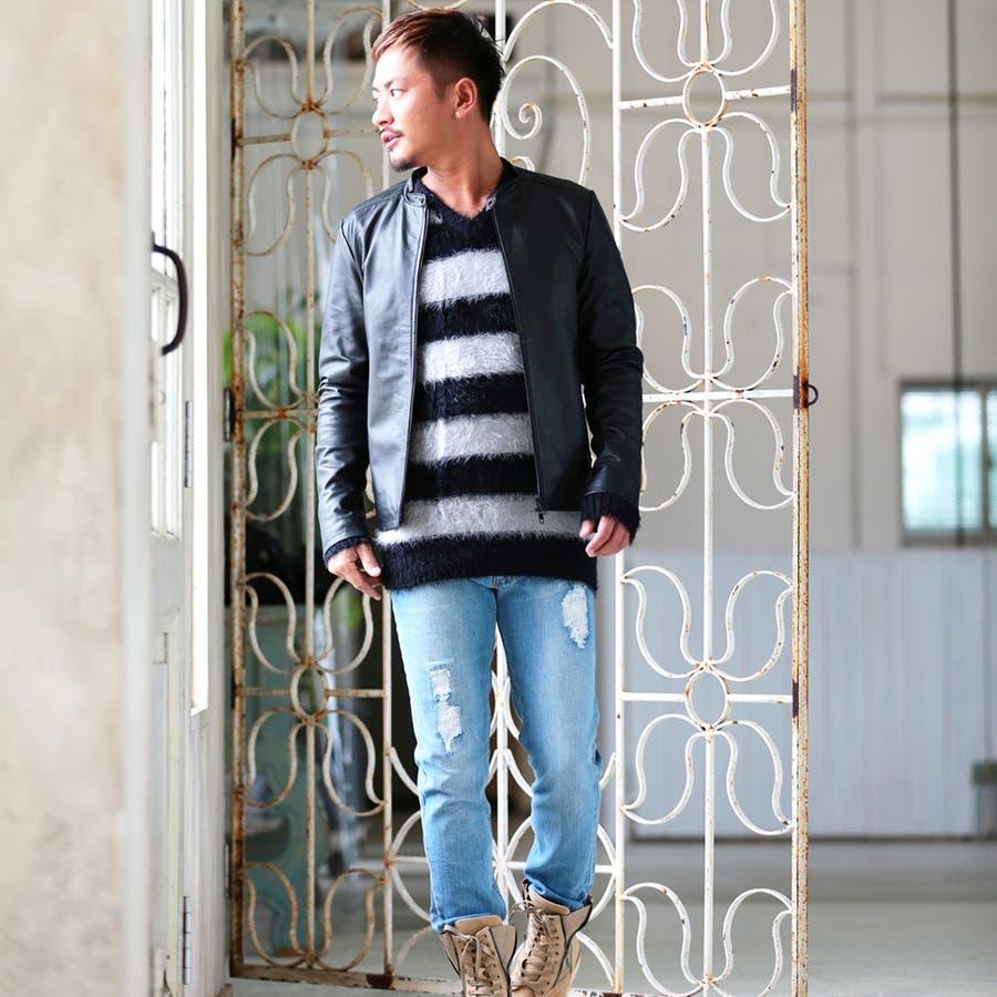 ◆roshell(ロシェル) シャギークルーネックニット&Vネックニット◆ニット セーター メンズ ニットセーター トップス ざっくりニットソー レディース 厚手 薄手 メンズファッション お兄 お兄系 ファッション 8
