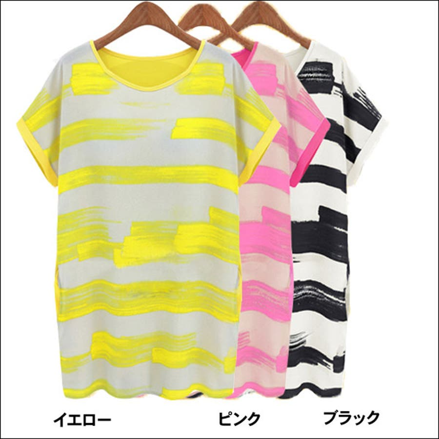 ワンピース 半袖 Tシャツ チュニック ボーダー柄 シフォン 切り替え 手書き風 (tn6832-2307) 4