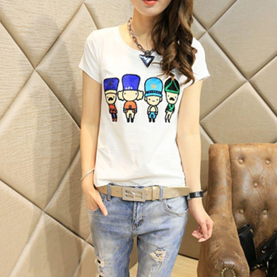 かなりのお気に入り キャラクター刺繍 半袖 Tシャツ カットソー トップス ts12x02747 万化