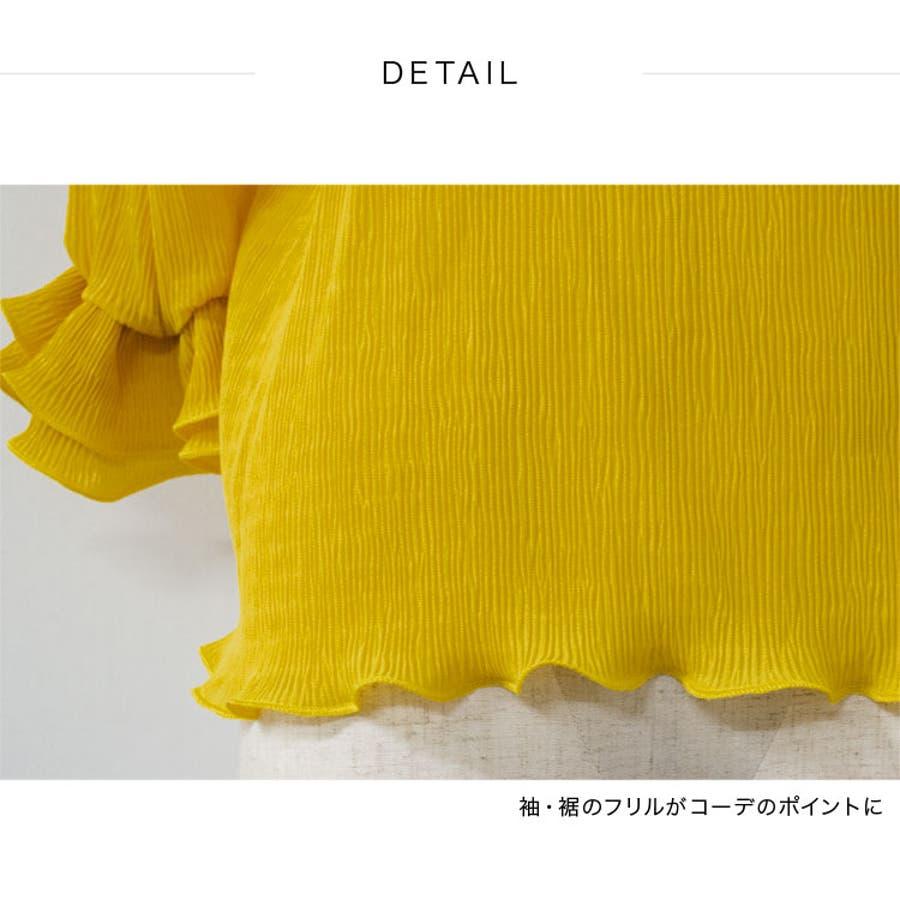 トップス Tシャツ フリルデザイン 七分袖 楊柳シフォン(tt01c03155) 7