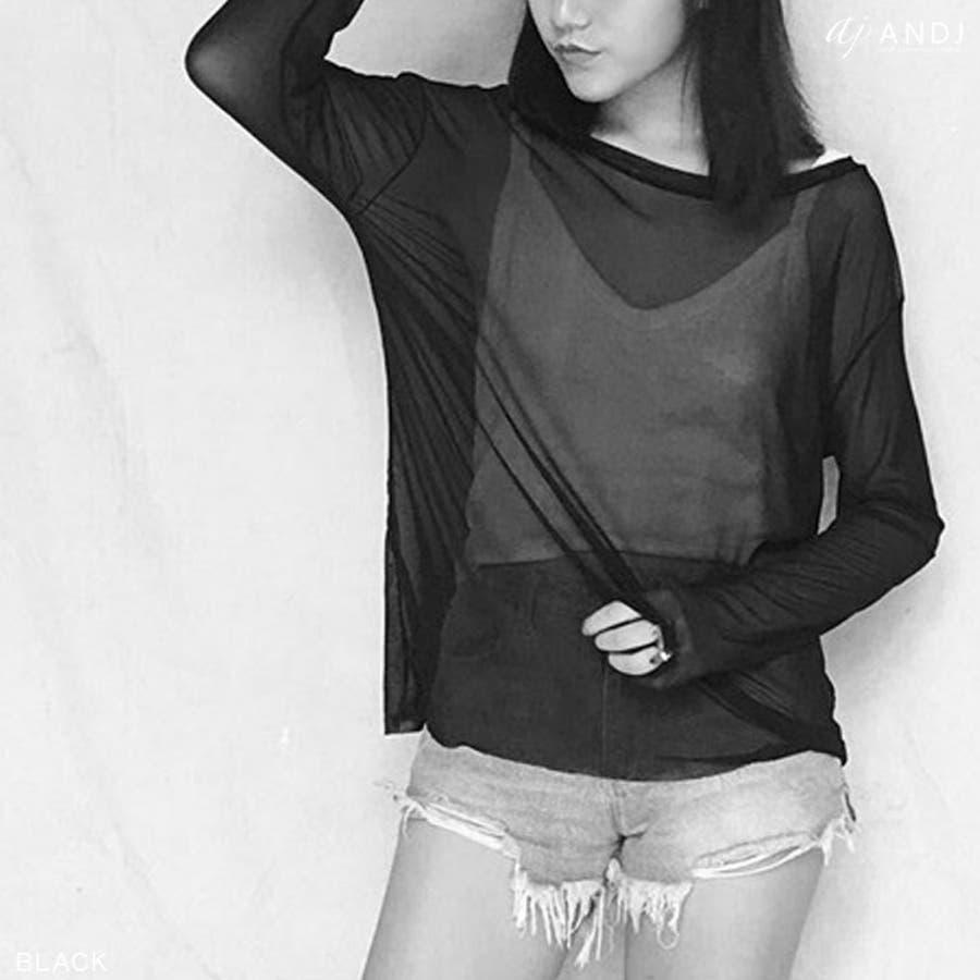 Tシャツ チュニック トップス 長袖 シースルー メッシュ素材 カットオフ(tt01c03570) 5