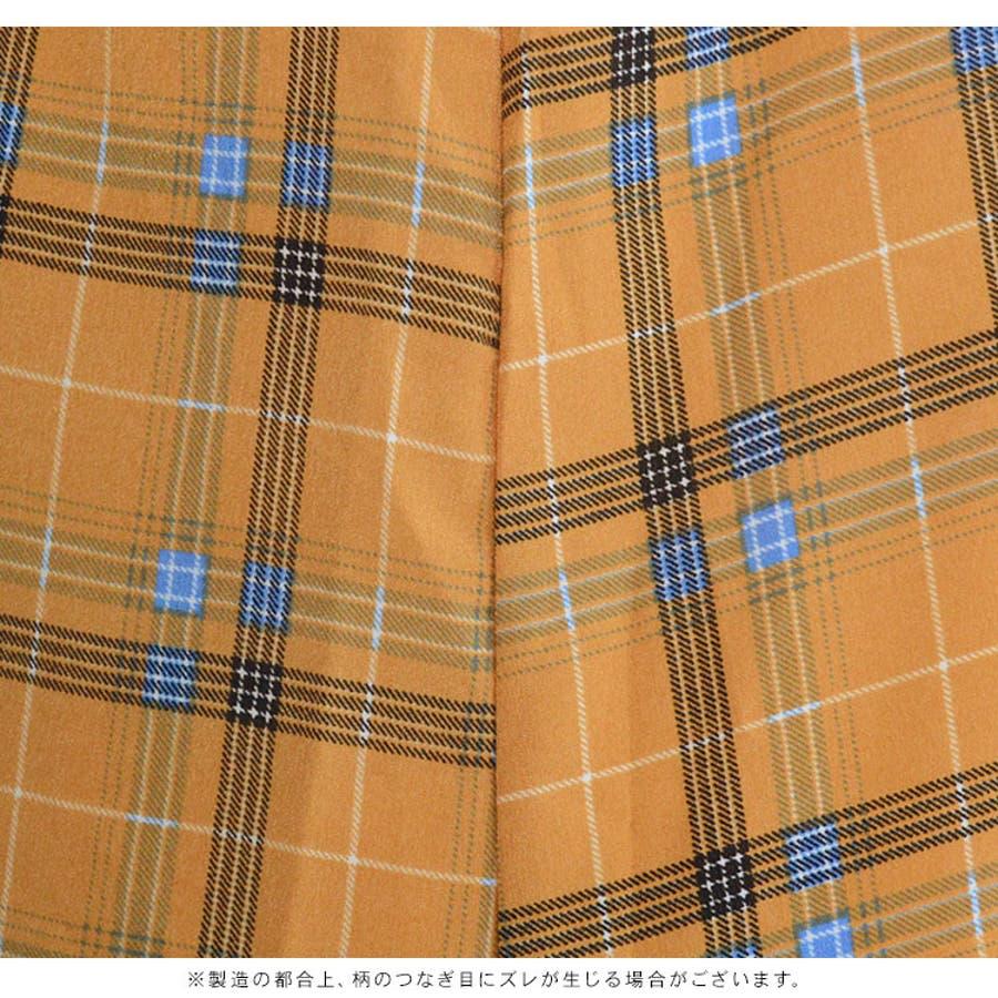 2枚セット チェック柄 キャミ ワンピース 長袖 スタンドカラー ブラウス ( 4004 ) | レディース トップス キャミワンピキャミワンピース シャツ チェック タータンチェック ファスナー カジュアル 大人 きれいめ おしゃれ オレンジ ベージュ 10