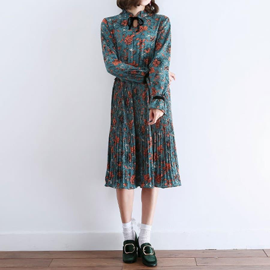 リボンタイ レトロ花柄 プリーツ ロング ワンピース ( 3598 )
