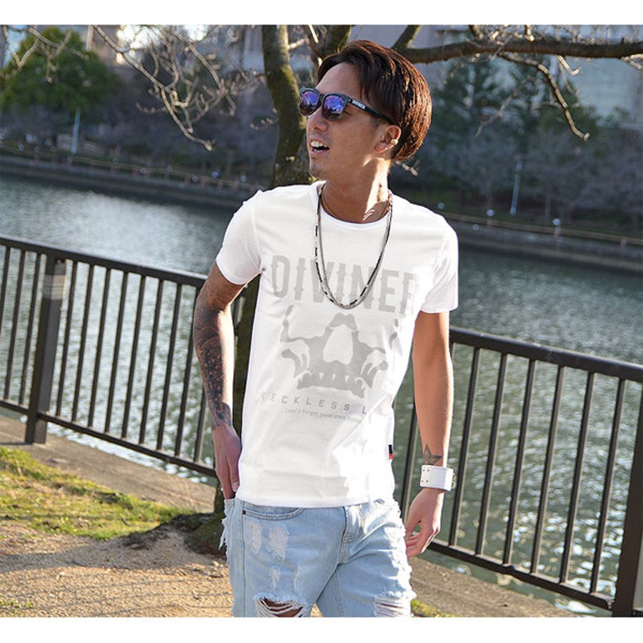 【DIVINER】シルケットコットンスカルロゴ半袖Tシャツ
