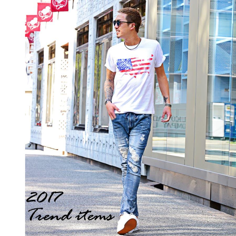 Tシャツ メンズ サーフ系 星条旗 インディゴ 半袖Tシャツ アメリカ 春 春服 春物 春
