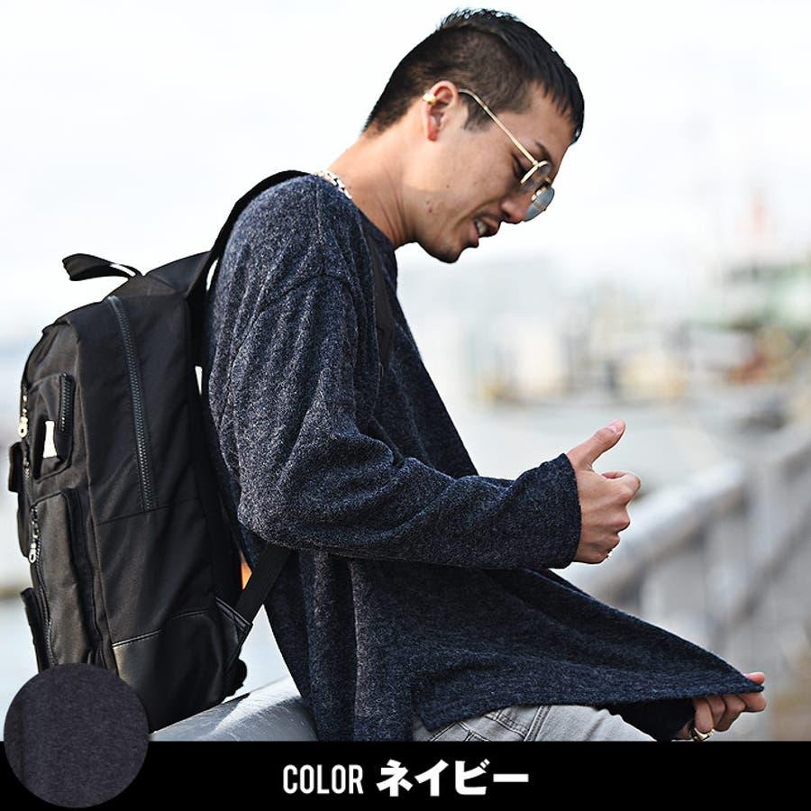 ニット メンズ セーター ワイド ビッグ ビッグシルエット ロング ロング丈 ビッグニット ニットソー 無地 長袖 ブラック 黒メンズファッション トップス お兄系 オラオラ系 BITTER ビター系 JOKER ジョーカー 8