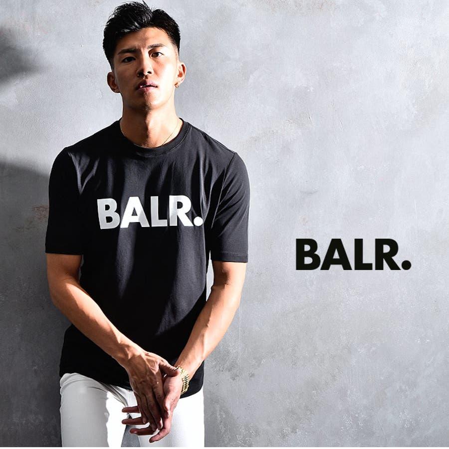 BALR ボーラー Tシャツ メンズ ロング丈 ロング カットソー オラオラ系 韓国 半袖 ゆったり おしゃれ 大きいサイズ LLXL XXL お兄系黒 白 ブラック ホワイト ストリート ビッグ ビッグシルエット 丸首 ストレッチ ブランド BRANDT-SHIRT BALR.B10001 2