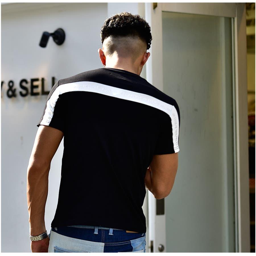 tシャツ メンズ 半袖 服 夏服 夏物 オラオラ系 オシャレ おしゃれ タイト 細め かっこいい 個性的 ラインストーン モノトーンライン 白黒 ブラック ホワイト お兄系 マッチョ ちょいワル 悪羅悪羅 ちょいワル ビター系 7