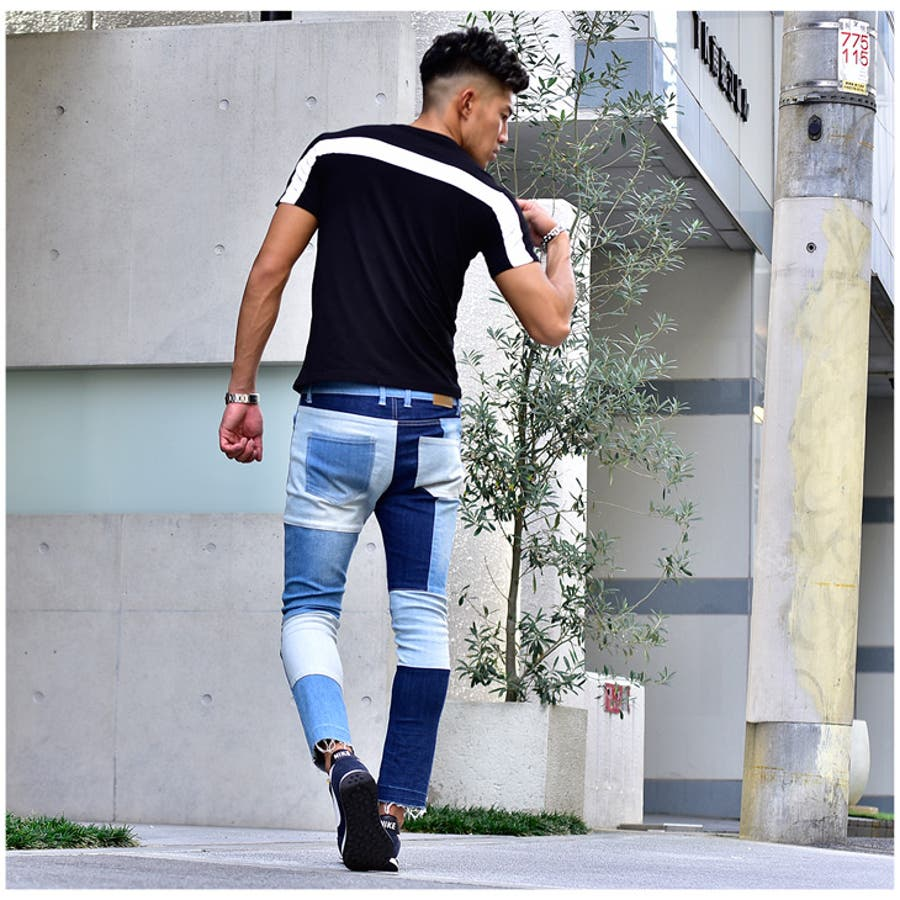 tシャツ メンズ 半袖 服 夏服 夏物 オラオラ系 オシャレ おしゃれ タイト 細め かっこいい 個性的 ラインストーン モノトーンライン 白黒 ブラック ホワイト お兄系 マッチョ ちょいワル 悪羅悪羅 ちょいワル ビター系 8
