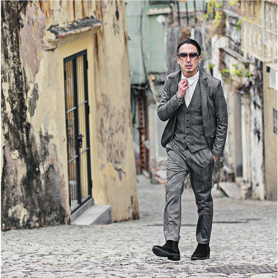 スーツ メンズ セットアップ グレンチェック オフィス ビジネス 結婚式 2