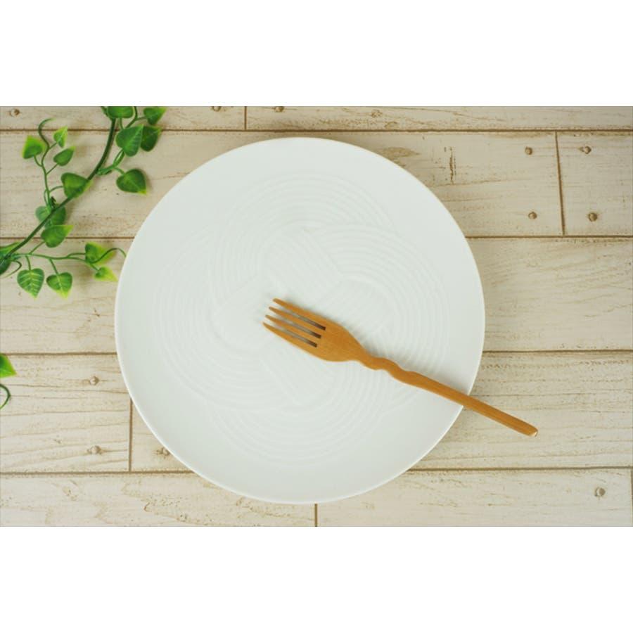 結 プレート 大皿 25.5cm 630g ホワイト 白 パスタ皿 丸皿 お祝い 結び 結婚式 食器 白磁 陶器 日本製 国産 美濃焼小田陶器 みずなみ焼 食洗器対応可 3