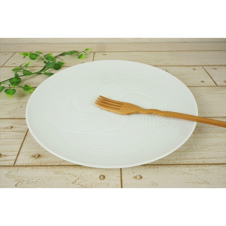 結 プレート 大皿 25.5cm 630g ホワイト 白 パスタ皿 丸皿 お祝い 結び 結婚式 食器 白磁 陶器 日本製 国産 美濃焼小田陶器 みずなみ焼 食洗器対応可 2