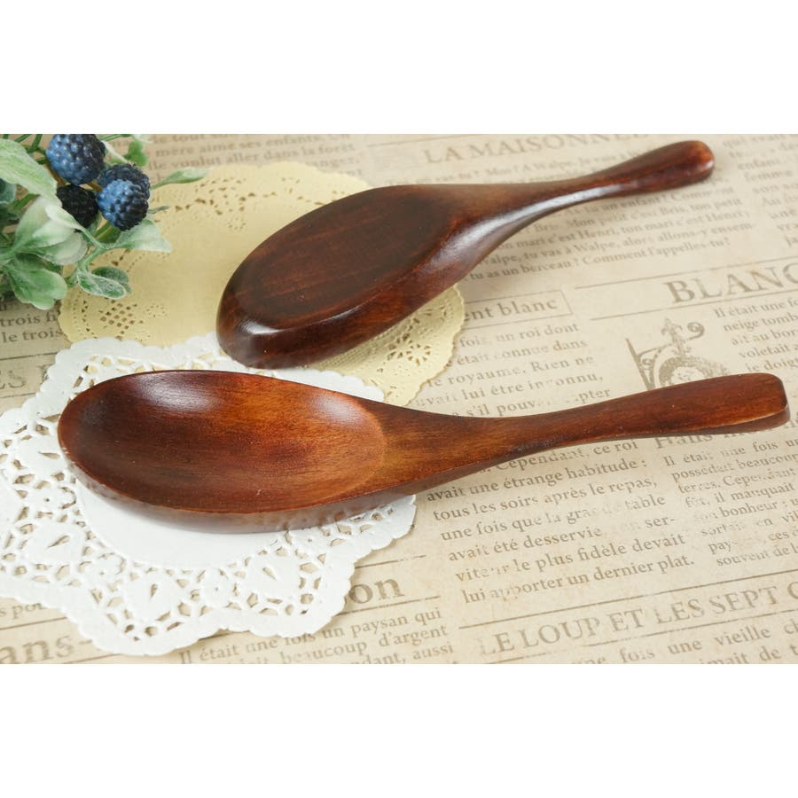 木製 れんげ 15cm ブラウン 木 天然木 スプーン レンゲ 鍋 茶色 spoon 1