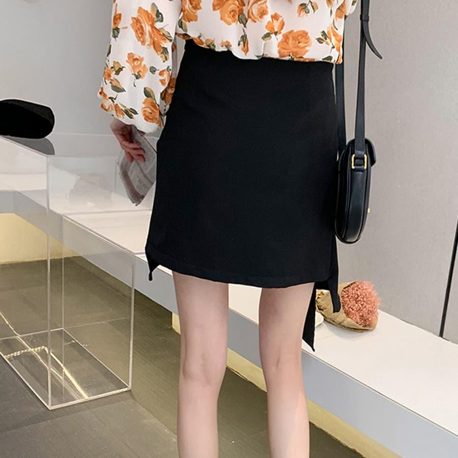 ミニスカート アシンメトリー風 インナーショートパンツ付 台形スカート ブラック 大人セクシー 大人カジュアル デイリーおしゃれ SM L XLサイズ 大きいサイズ 大人可愛い JSファッション【200514】【5月新作】 3