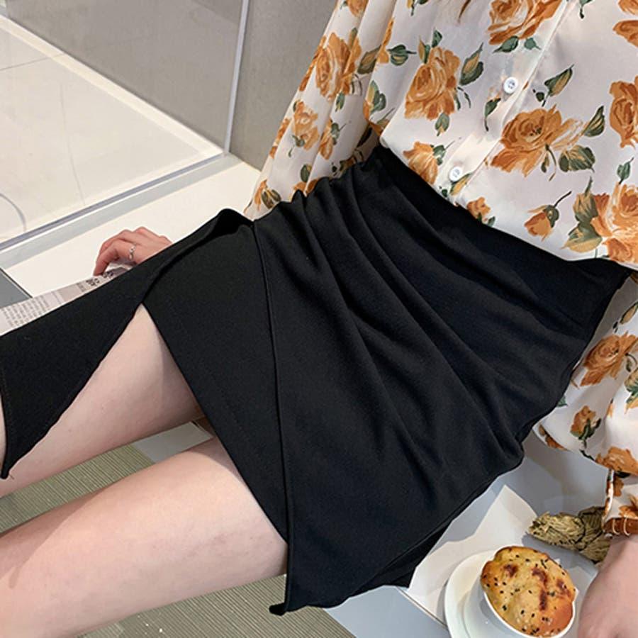 ミニスカート アシンメトリー風 インナーショートパンツ付 台形スカート ブラック 大人セクシー 大人カジュアル デイリーおしゃれ SM L XLサイズ 大きいサイズ 大人可愛い JSファッション【200514】【5月新作】 2