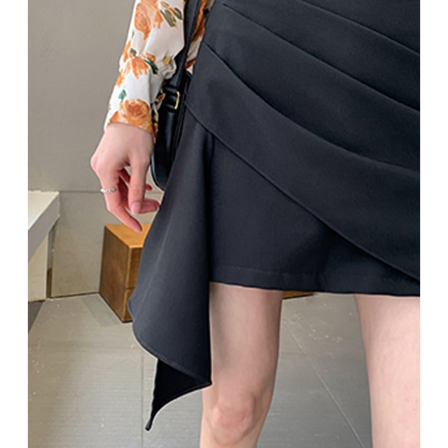 ミニスカート アシンメトリー風 インナーショートパンツ付 台形スカート ブラック 大人セクシー 大人カジュアル デイリーおしゃれ SM L XLサイズ 大きいサイズ 大人可愛い JSファッション【200514】【5月新作】 10