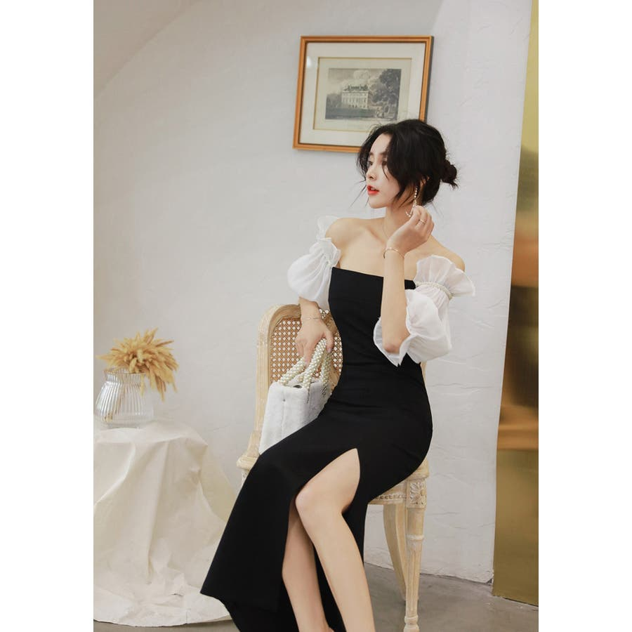 パーティードレス ロングドレス オフショルダー オーガンジー袖切替 バイカラーワンピース ロング丈 ブラックドレス きれいめ華やかおしゃれ 大人セクシー Sサイズ Mサイズ Lサイズ 大人可愛い JSファッション【200806】【8月新作】 5