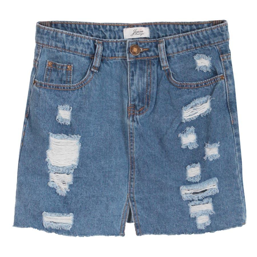 【S〜Lサイズ】大人ガーリーで年中使える♪裾切りっぱなしダメージデニムタイトスカート・ボトム/17184 2