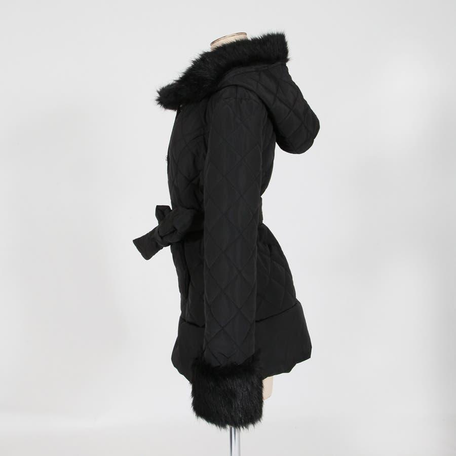 女子の理想を詰め込んだ最愛アウター♪ファー&ビジューボタン付きキルティングダウン風フードロングコート・アウター/17591 5