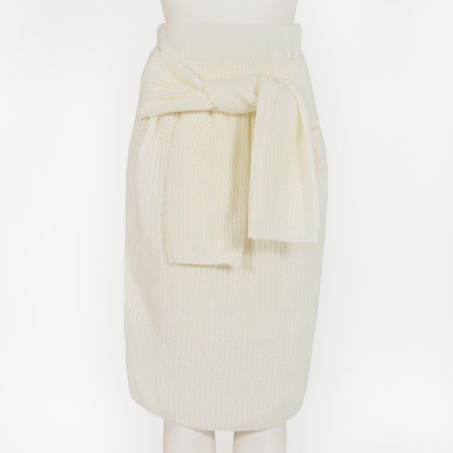 大人な今っぽ感を纏える腰巻き風デザイン♪フェイクスリーブミディアム丈ニットタイトスカート/17655 4
