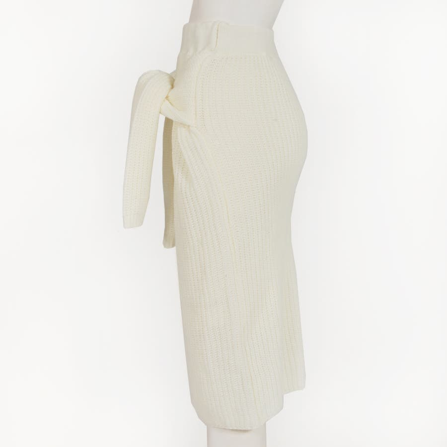 大人な今っぽ感を纏える腰巻き風デザイン♪フェイクスリーブミディアム丈ニットタイトスカート/17655 5