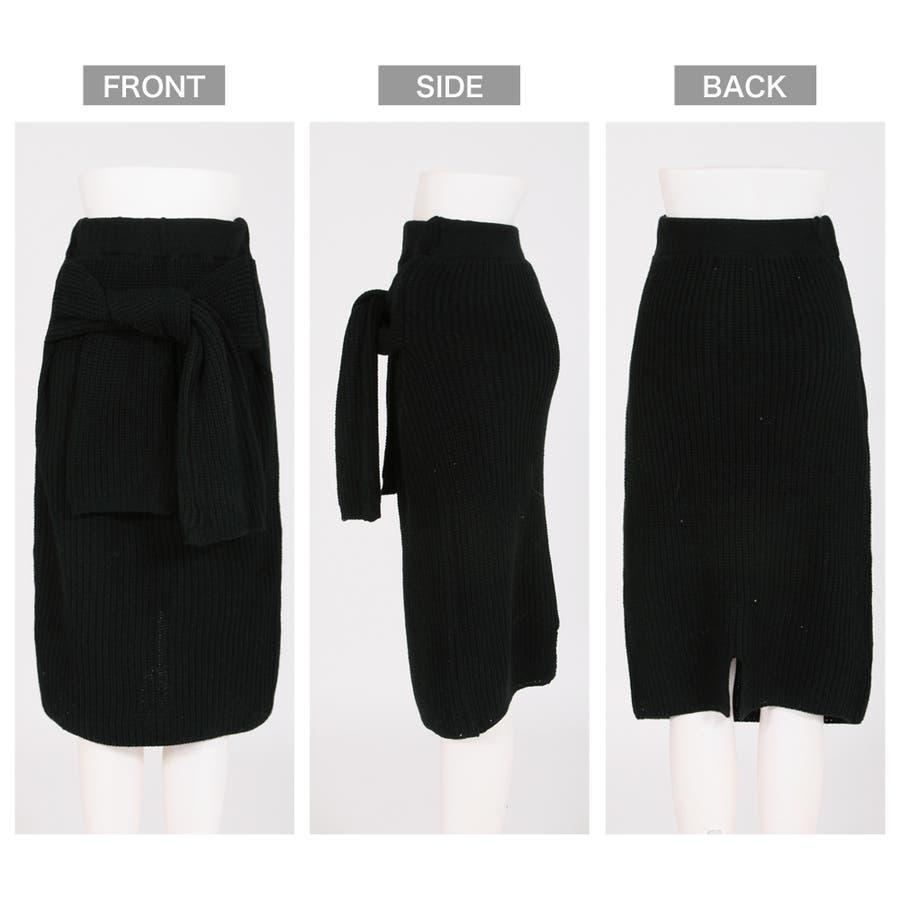 大人な今っぽ感を纏える腰巻き風デザイン♪フェイクスリーブミディアム丈ニットタイトスカート/17655 9