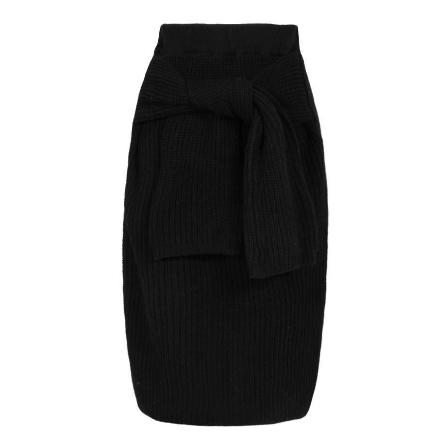 大人な今っぽ感を纏える腰巻き風デザイン♪フェイクスリーブミディアム丈ニットタイトスカート/17655 2