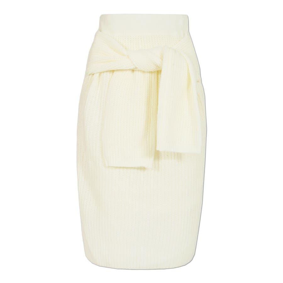 大人な今っぽ感を纏える腰巻き風デザイン♪フェイクスリーブミディアム丈ニットタイトスカート/17655 3