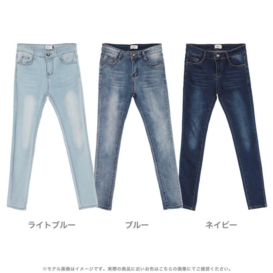 大人カジュアルスタイルに☆ベーシックスキニーウォッシュデニム/18049 2
