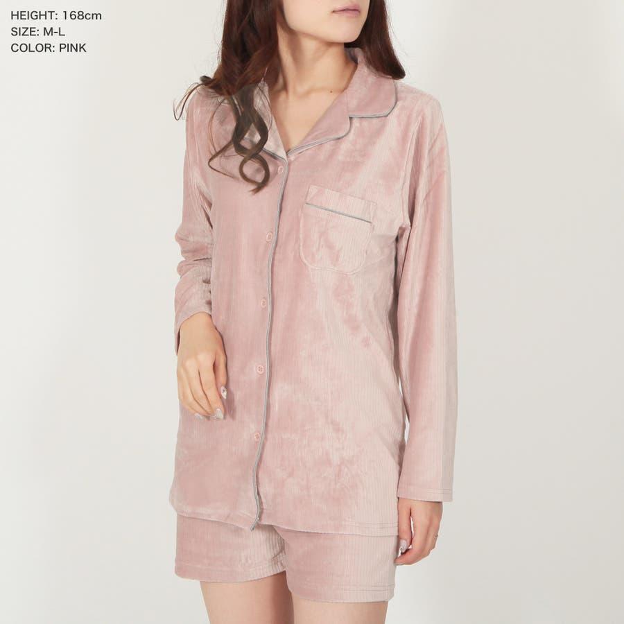 開襟パイピングシャツショートパンツルームウェア  87
