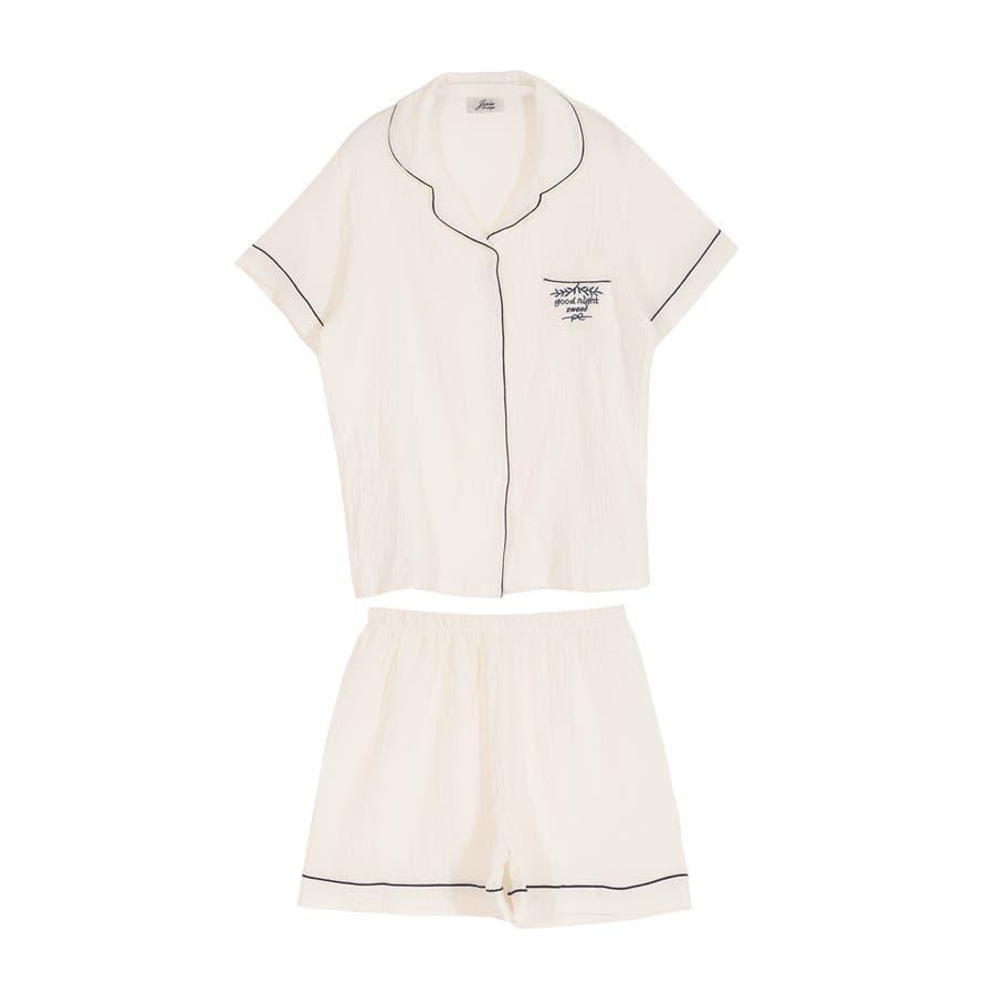 ロゴ入りパイピング半袖シャツ&ショートパンツセットアップルームウェア  16