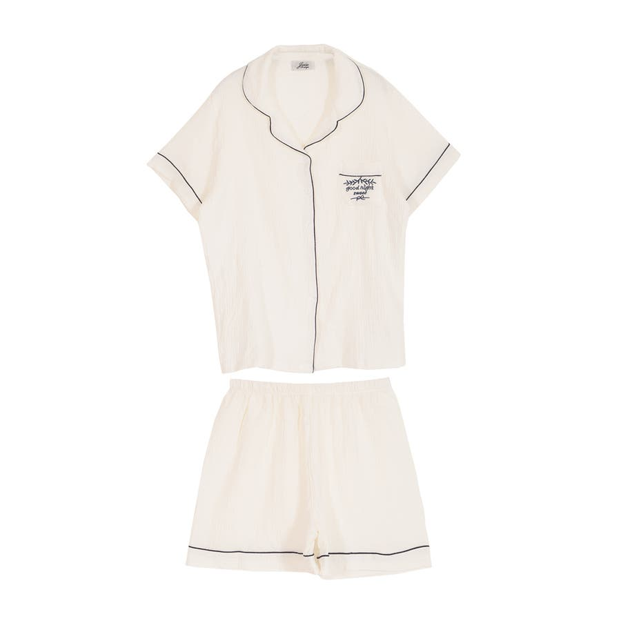 ロゴ入りパイピング半袖シャツ&ショートパンツセットアップルームウェア  7