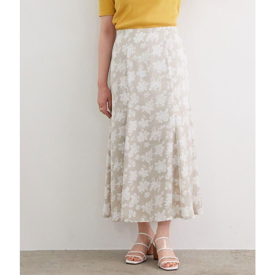 単色花柄サテンマーメイドスカート 1