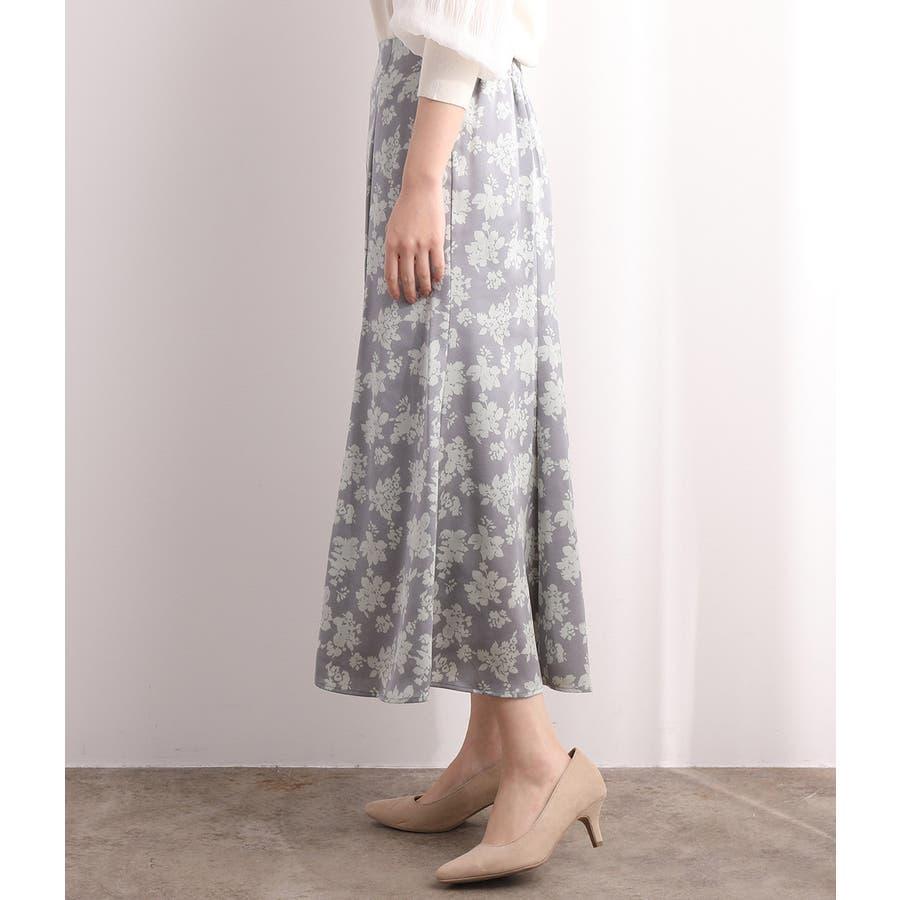 単色花柄サテンマーメイドスカート 2